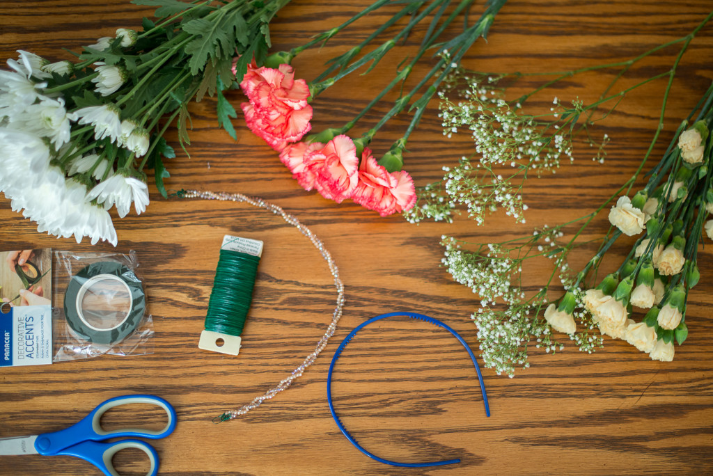 Supplies for DIY Floral Crown